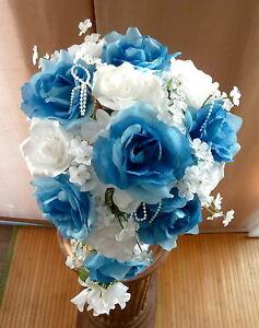 Brautstrauss Hochzeitsstrauss Blau Weiss Blumenstrauss Hochzeit Ebay