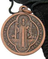 Mrt Saint Benedict 1 Bronze Catholic Pendant Medal From Italy W Black Gift