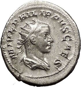 PHILIP-II-Roman-Caesar-with-globe-246AD-Silver-Rare-Ancient-Roman-Coin-i57491