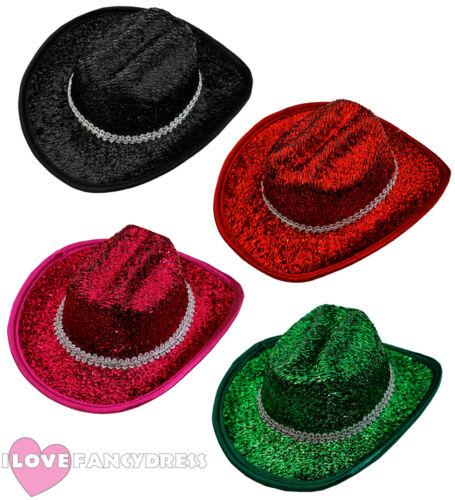 24 X MINI TINSEL COWBOY HAT WILD WESTERN COWGIRL WHOLESALE BULK CHOOSE COLOUR