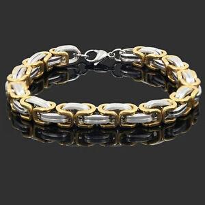 Mens-Stainless-Steel-Gold-Silver-Bracelet-Byzantine-Bangle-Wristband-Box-Chain
