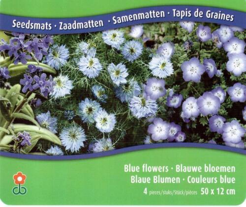 Garten Balkon Blumenbeet****A-Ware Samenteppich Vlies mit blauen Blumen 4tlg