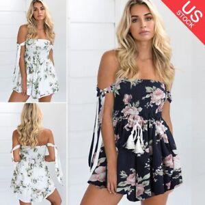 014320f2d34 Fashion Women Off Shoulder Floral Print Cute Short Romper Playsuit ...