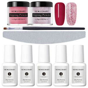 9Pcs-Set-NICOLE-DIARY-Dipping-Powder-Wine-Red-Dip-Liquid-Nail-Art-Starter-Kit