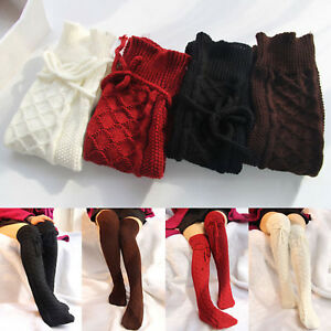 Women-039-s-Cable-Knit-Over-knee-Long-Boot-Winter-Warm-Thigh-High-Socks-Leggings
