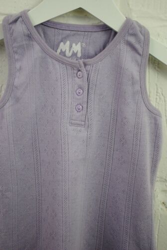 Girls MM Vest Tank Top Button Up Lilac Age 1 to 8 Years Kids C09.6