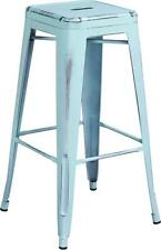 30'' HIGH BACKLESS DISTRESSED DREAM BLUE METAL INDOOR BARSTOOL