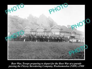 OLD-POSTCARD-SIZE-PHOTO-OF-BOER-WAR-TROOPS-DEPARTING-WOOLOOMOOLOO-NSW-c1900