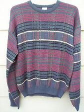Windridge Men's Sweater Sz LT L T Tall Red Green Black Striped Acrylic Crewneck