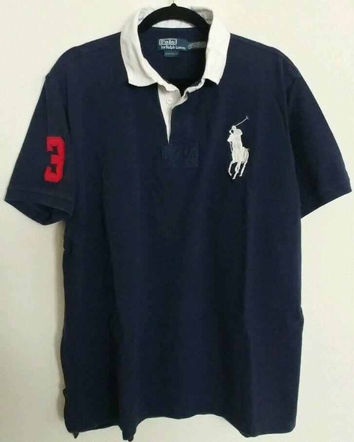 Vintage Ralph Lauren Big Pony navy bluee 3  Polo Shirt  Size 2XLT