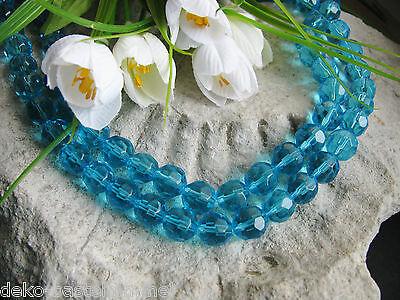 1 Strang mit 32 Glasperlen facettiert 10 mm, hellblau - türkis, Perlen  basteln