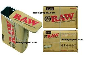 Image Is Loading RAW Rolling Papers Slide Top Tin Metal Cigarette