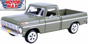 Motormax-1-24-Ford-F-100-Pickup-1969-Pale-Green-Metal-Model-Car