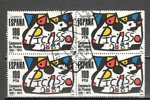 R5137-SPAGNA-1981-QUARTINA-ARTE-PICASSO-VIAGGIATA-VEDI-FOTO