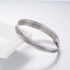 Silber-Damen-Armreif-Armband-Feder-Feather-Silber-Vintage-Filigran