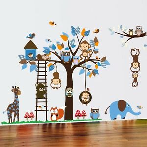 wandtattoo wandsticker aufkleber tiere wald sticker affe baby baum kinder xxl ebay. Black Bedroom Furniture Sets. Home Design Ideas