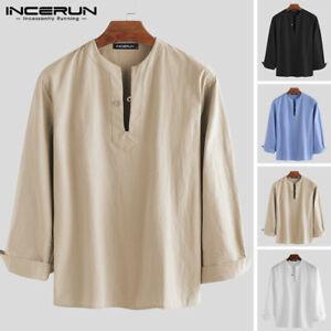 Mens-Long-Sleeve-Linen-Henley-T-Shirt-Collarless-Casual-Beach-Yoga-Tops-Blouse