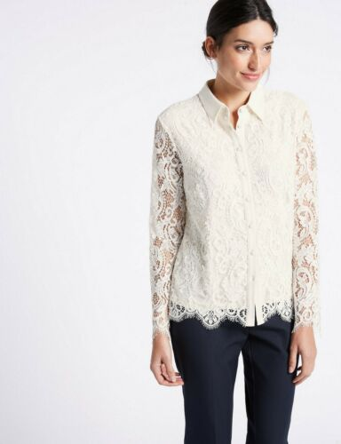 New M/&S Per Una Ivory Cream Lace Long Sleeve Shirt Top Sz UK 18