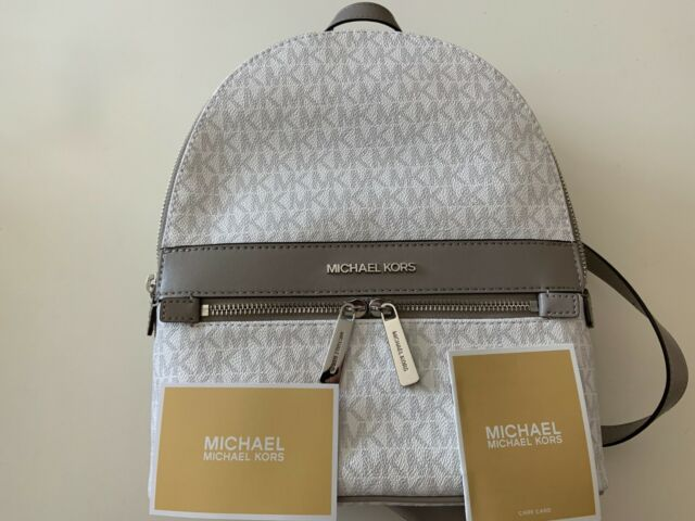 NEW Michael Kors Kenly 35T0SY9B6B MD PVC/Leather Backpack BRIGHT WHITE $368