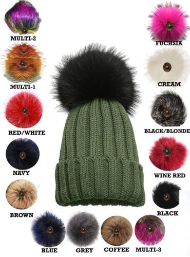 New Ladies Knitted Detachable Faux Fur Pom Pom Customizable Bobble Hat