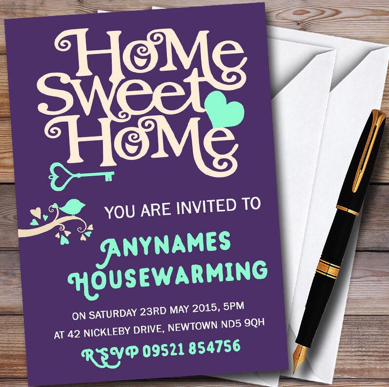 Lila Aqua Sweet Home Personalised Housewarming Party Invitations Ee060e