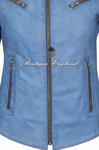 /'SPEED/'Ladies BLUE Crust Retro Biker Style Fitted Motorcycle Leather Jacket SR01
