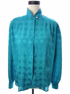Womens-Vintage-Laura-and-Jayne-Turquoise-Blue-Blouse-Size-12-XL
