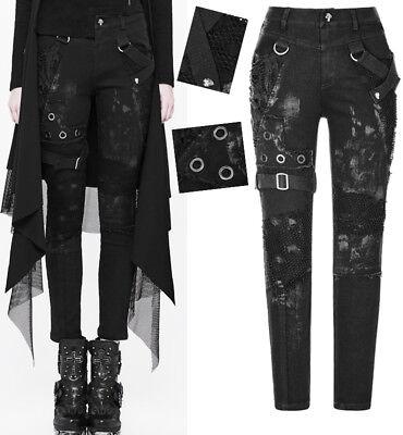 Bello En Stock Jeans Pantalon Gothique Punk Steampunk Destroy Déchiré Rivets Punkrave Prestazioni Affidabili