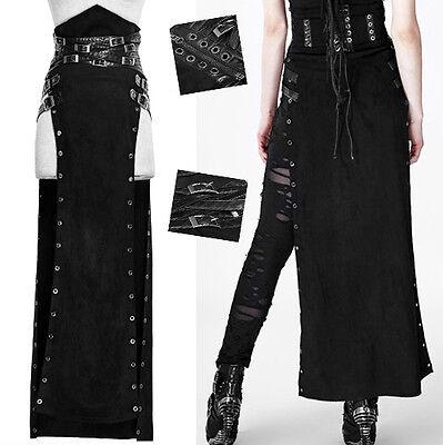 Jupe Longue Fendue Taille Haute Gothique Punk Lolita Rock Sangle Daim Punkrave