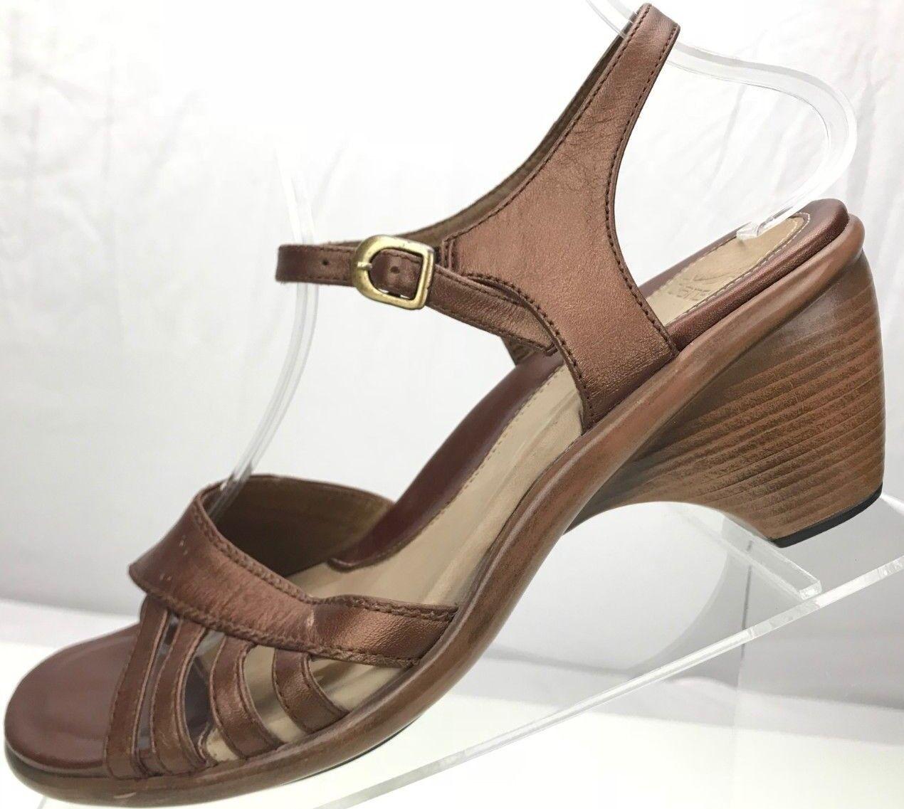 Dansko Ankle Strap Sandals - Open Toe Leather Clog Heels Women's 39,8.5 9 Bronze