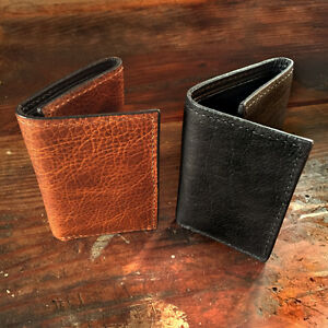 94e7eb9b04ce Handmade Amish Leather Trifold Wallet in Black or Brown Tri Fold ...