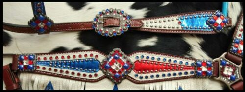 Showman Red//White//Blue Patriotic Headstall /& Breast Collar Set w//Fringe /& Reins
