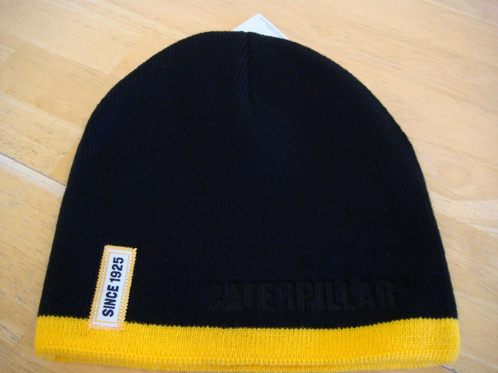 CAT Caterpillar Black Hat Cap Beanie Yellow Stripe  &  Since 1925  Stripe Patch c0d46c