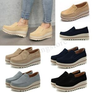 Women-Breathable-Platform-Slip-On-Loafers-Casual-Shoes-Wedge-Suede-Creepers-1