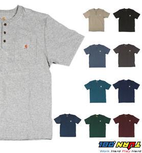 Carhartt-K84-Men-039-s-Henley-Pocket-T-shirt-Heavyweight-Jersey-cotton-Top-WorkWear