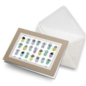 Greetings-Card-Biege-Funky-Pineapple-Drawing-Cool-2076