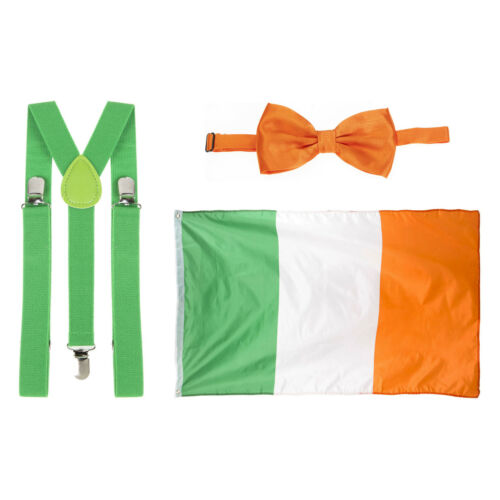 St Patrick/'s Day Green Braces Orange Bow Tie /& Flag Fancy Dress