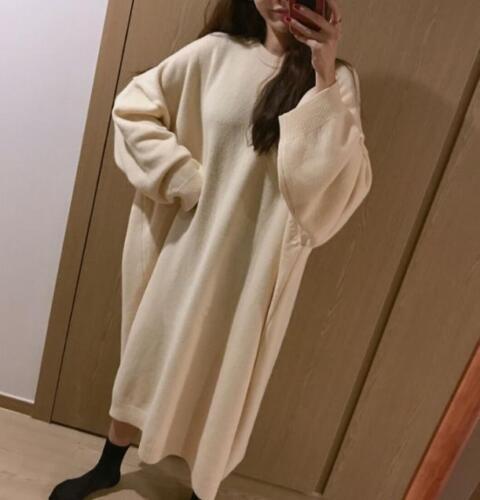 Haut femme à encolure danseuse Tricot Casual Loose Longue Pull robe oversize Casual
