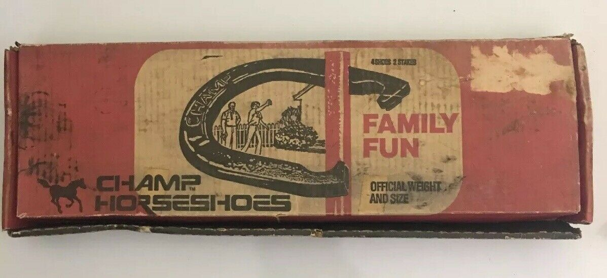 Vintage Champ Horseshoes 4 shoes 2 Stakes Family Fun With Box