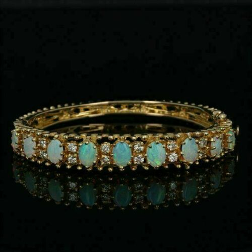 """Details about  /5.00 Ct Oval Fire Opal /& Diamond 7.25/"""" Tennis Bracelet 14k Yellow Gold Over"""
