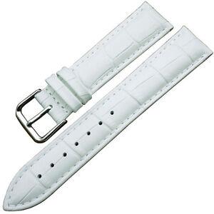 Cinturino-In-Pelle-Universale-Ricambio-Per-Orologio-Larghezza-22mm-Bianco-lac