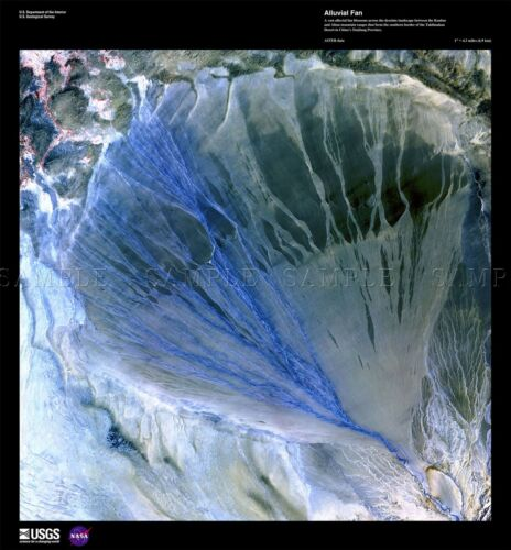 SCIENCE MAP SATELLITE ALLUVIAL FAN CHINA OLD LARGE REPLICA POSTER PRINT PAM1493