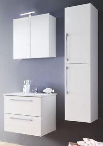 Details zu Bad Badezimmer Set weiß Hochglanz Lack + Waschbecken  Hängeschrank Möbel Intenso