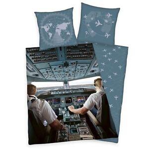 Avion-Pilote-Cockpit-Set-Housse-de-Couette-Simple-Coton-Herding-2-IN-1-Design