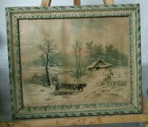 Vtg 1895 Victorian Ornate Wood Chalk Framed Hoover Litho Print Winter Cabin