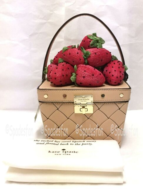 Kate Spade Pxru8528 Picnic Perfect Woven Leather 3d Strawberry Basket Cashew Nwt
