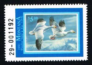 CKSTAMPS-1991-US-Montana-State-Ducks-Hunting-Stamps-5-00-Mint-NH-OG-VF