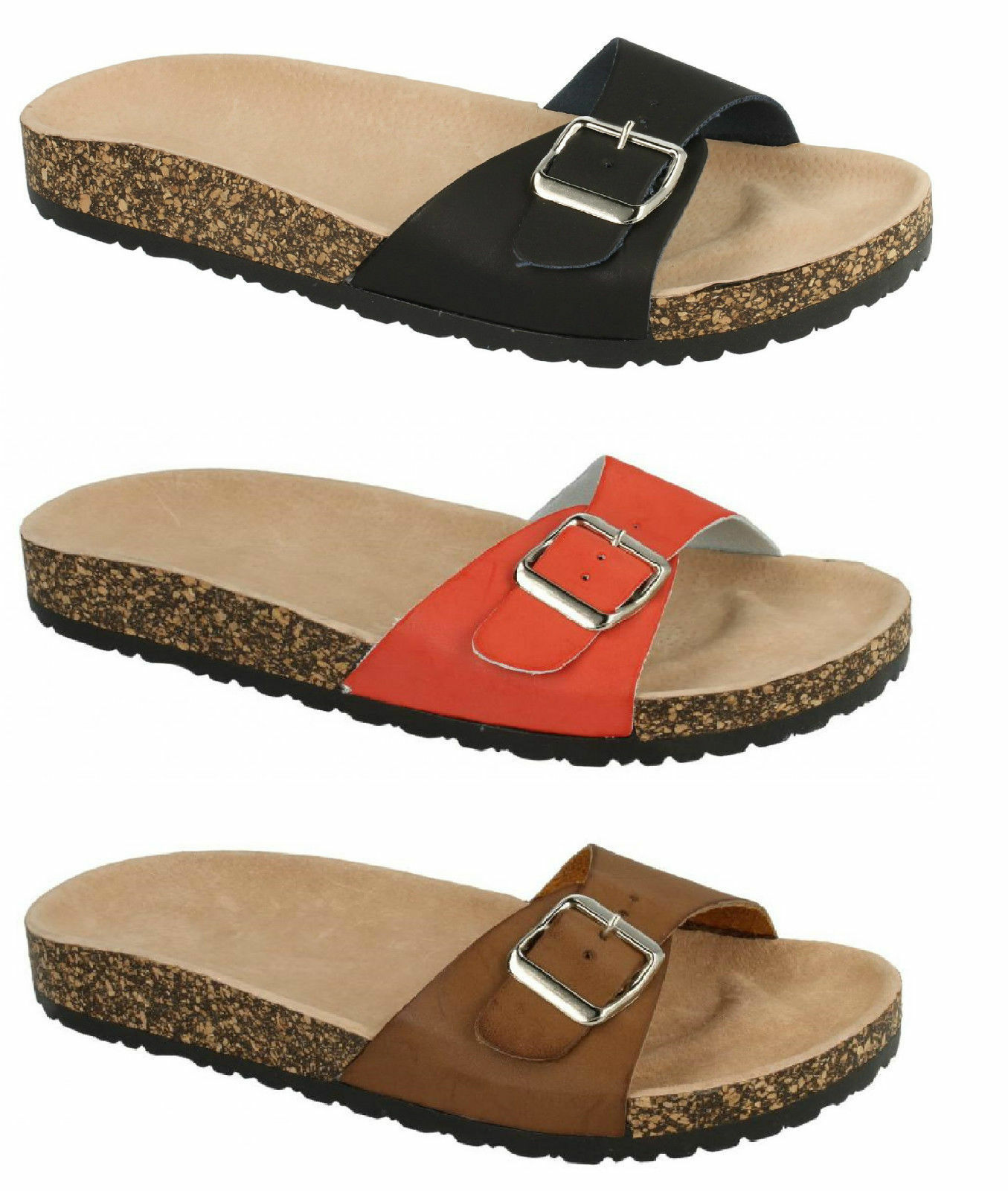 SALE F10293 - Ladies adjustable footbed slip mule buckle strap sandals slip footbed ons fbe971