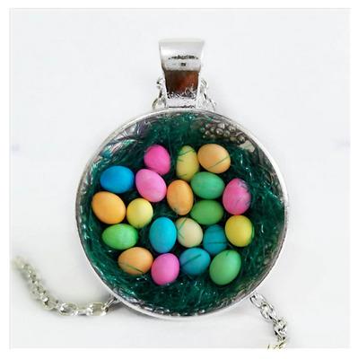 Easter Eggs Photo Cabochon Glass Silver//Black//Bronze Chain Pendant Necklace