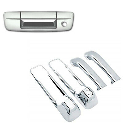 For 09-17 DODGE RAM 1500+2500+3500+HD 4 Door Handle Cover w//1 Keyhole CHROME ABS